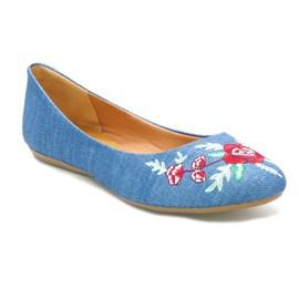 Sapatilha Feminina Tecido Bordado Jeans Azul Sua Cia