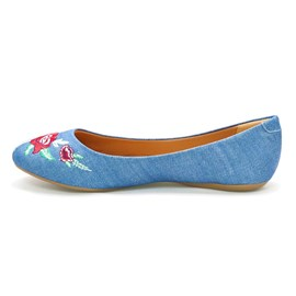 Sapatilha Sua Cia Tecido Bordado Jeans Feminina Azul