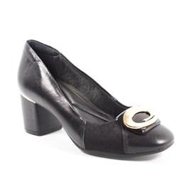 Sapato Comfortflex Em Couro Feminino Preto