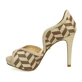 Sapato Divalesi Peep Toe Pattern Feminino Champanhe