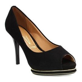 Sapato Feminino Peep Toe Camurça Preto Vizzano
