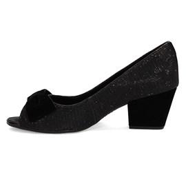 Sapato Feminino Peep Toe Gliter Preto Dakota