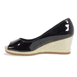 Sapato Feminino Peep Toe Verniz Preto Bebecê