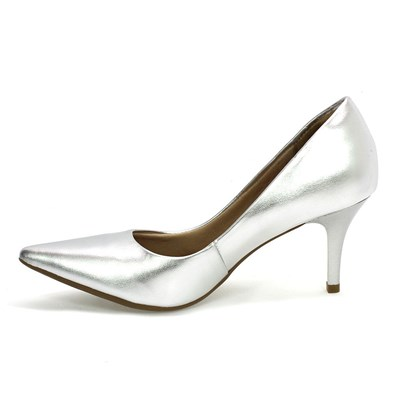 Sapato Feminino Scarpin Prata Bebecê
