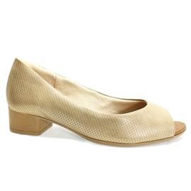 Sapato Usaflex Peep Toe Feminino Bege