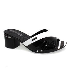 Tamanco Comfortflex Casual Feminino Preto e Branco