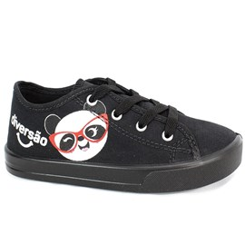 Tênis Diversão Panda Menina Preto